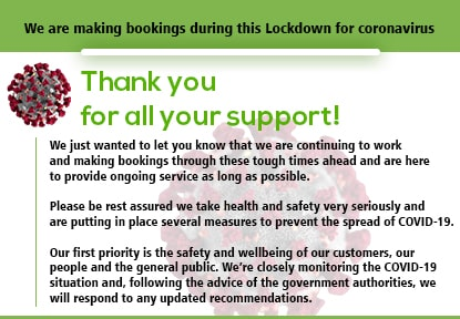 We are making bookings during this Lockdown for coronavirus
